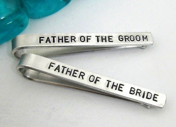 Father of the Bride and Groom Personalized Tie Clips (set of 2) - Hand Stamped Tie Clip - Men's Wedding Accessories - Wedding Party - Custom