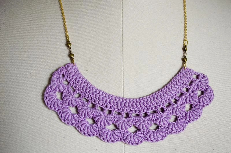 Lavender Crochet Bib Necklace with Brass Chain and Antiqued Brass hearts