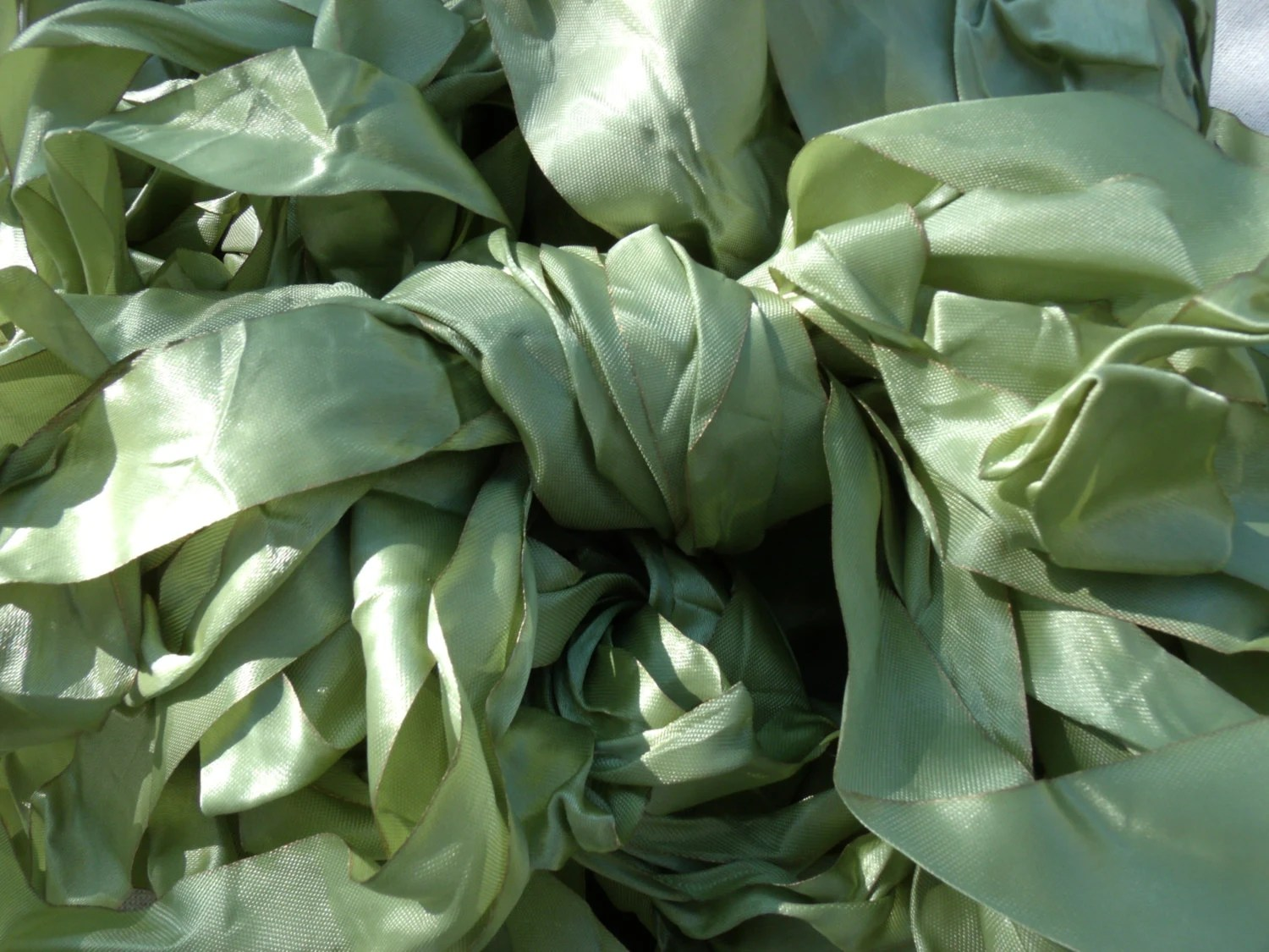 """12 Yds MEDIUM width """"PALE GREEN"""" Vintage Look French Style Ribbon with Gilded Edge- For Size Description See Below - marysalaber"""
