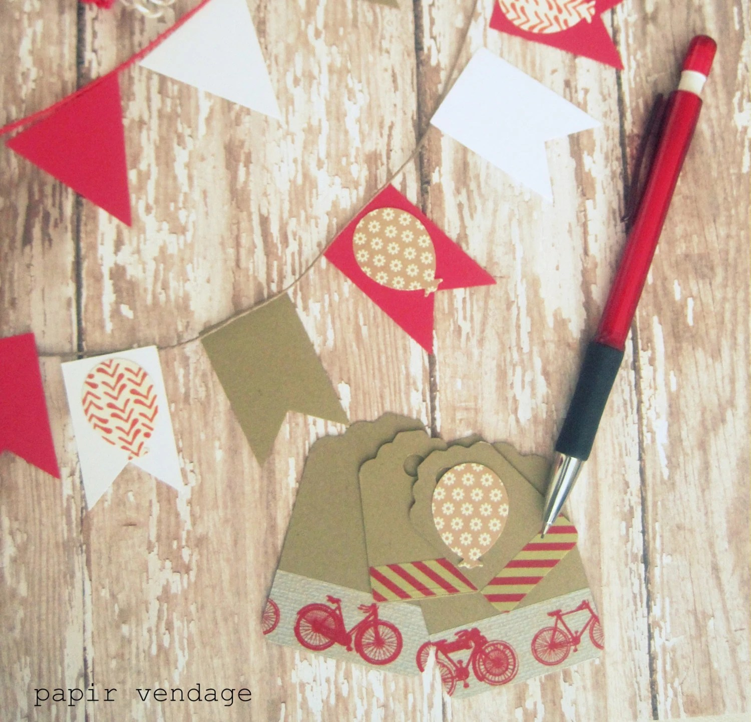 Summer Theme 34pc. Paper Kit ,Bicycle Journal Paper & Twine Kit, 34pcs Scrapbooking Set, Red, Brown and White , Summer Theme - papirvendage