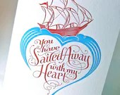 Sailed Away with my Heart letterpress valentine card. Love and romance. - pupandpony