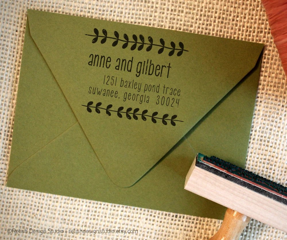 Personalized Rubber Address Stamp Modern Vines Custom -129