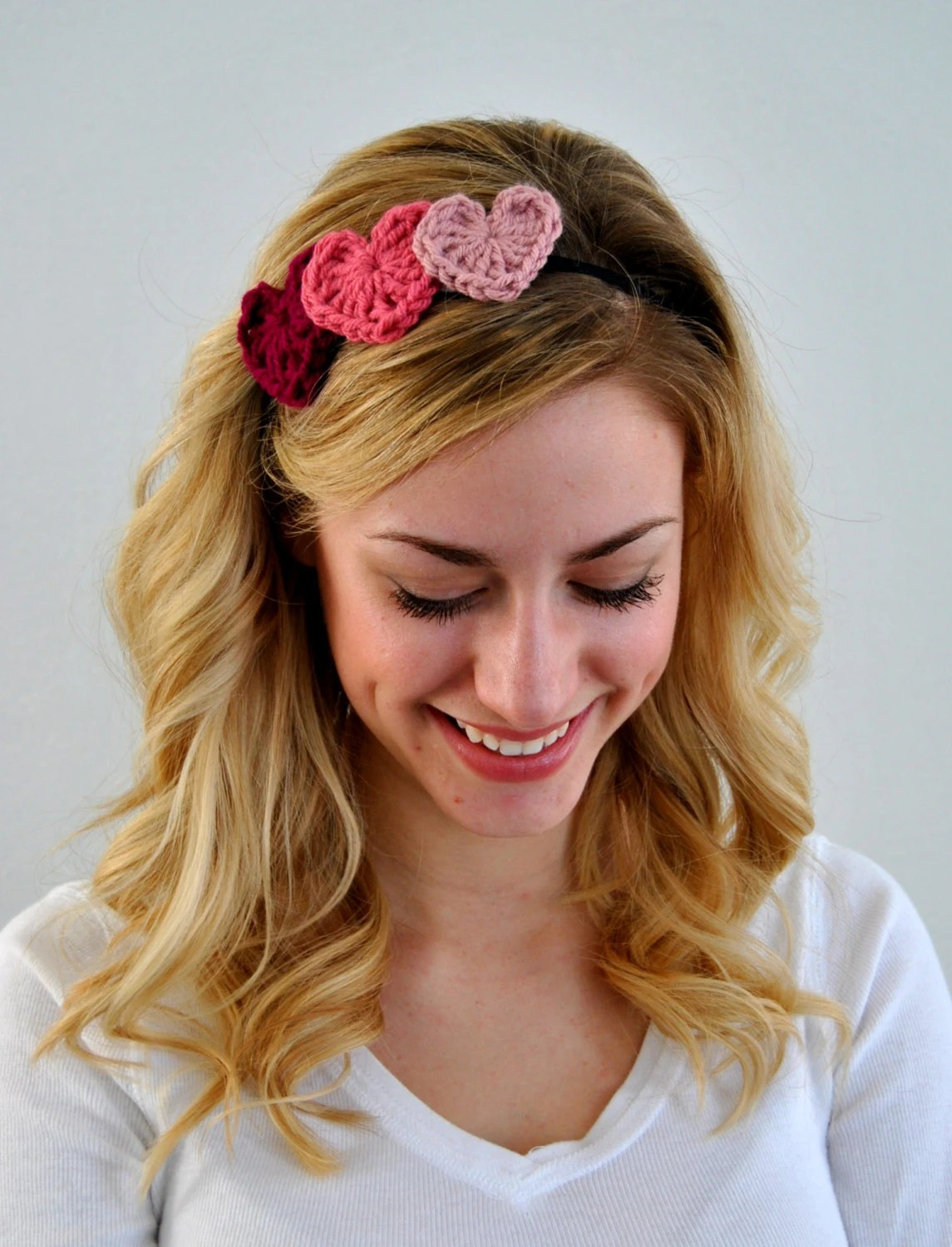 Ladies Pink Crochet Valentine Heart Headband