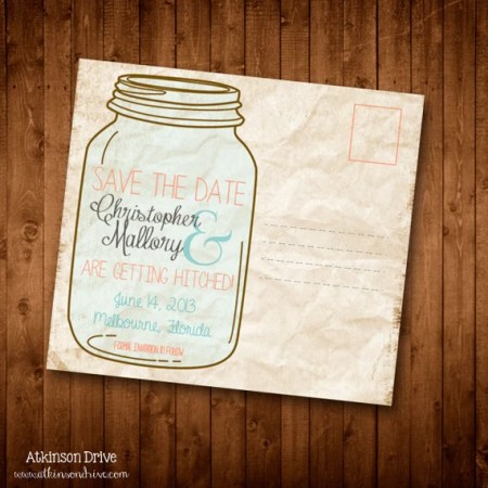 Country/DIY/Vintage Mason Jar Save the Date Postcard