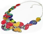 Fashion Jewelry SALE Butterfly Jewelry Paper Jewelry Fantasy Necklace with Red and Yellow Elevated Butterflies. Gifts Under 100 USD. 19N34