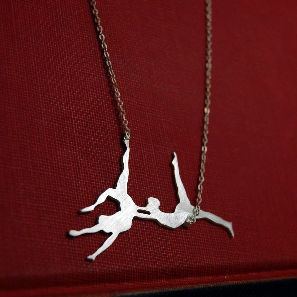 Trapeze Artists Sterling Silver Necklace by Markhed