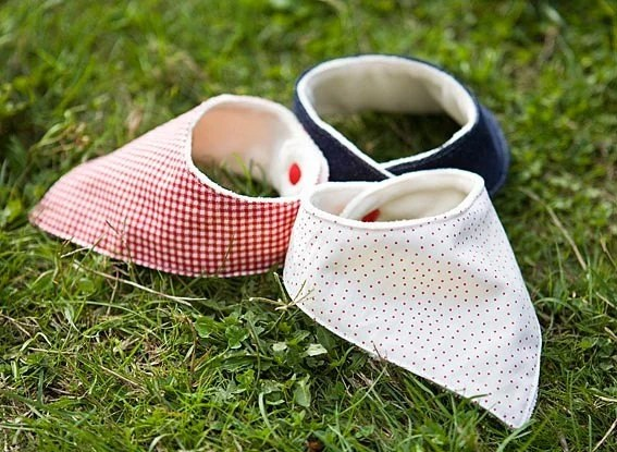 Organic Bandana Bib for Drooling Babies for Boys and Girls (polka dot, red gingham or blue denim)
