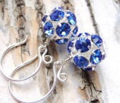 Blue Rhinestone Earrings, Sapphire Blue Swarovski Crystals, Sterling Silver Earrings, Fashion Under 25 - JBMDesigns