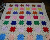 Handmade crochet blanket -  Chunky yarn cream and mulit colour centre sections  579