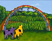 Cow Art Rainbow grapes winery purple yellow folk art  Signed Matted Digital print 8x10