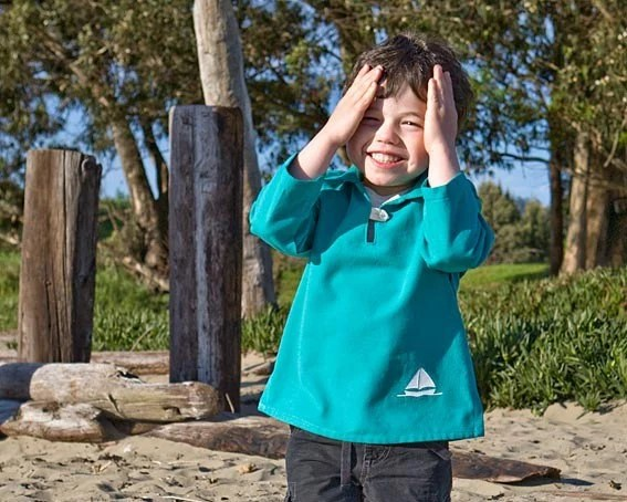 Organic Jumper Shirt in Teal, Little Sailboat (organic cotton canvas)