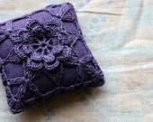 Linen  pincushion - crochet motif -- plum