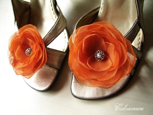 2 Spicy Burnt Orange Shoe Clips - Bridal Flowers Bridesmaids Outfits Autumn Wedding Reception