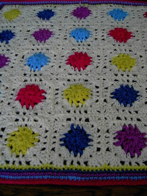 Handmade crochet blanket -  Chunky yarn cream and mulit colour centre sections and edge  583