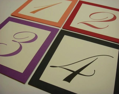 Wedding Table Numbers Custom Color Border Elegant Script Font