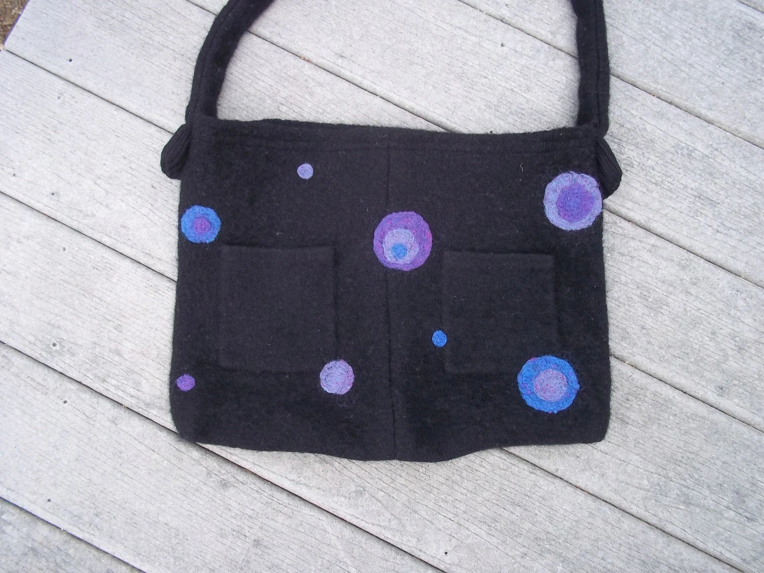 Felted Wool Tote /Diaper Bag, Black