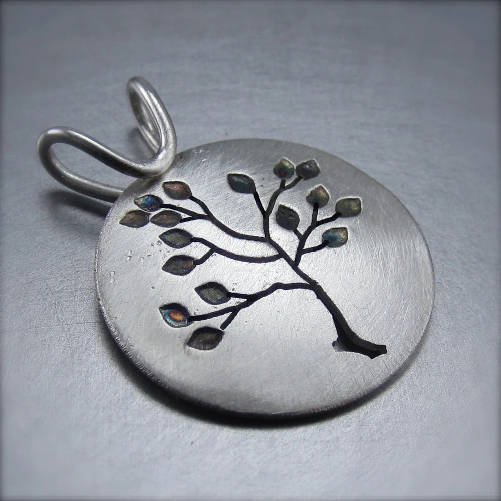 Medium Reversible Round Leafy Silver Tree Pendant by Beth Millner