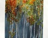 Original Landscape Painting of Autumn Aspens 5 x 7 Watercolor