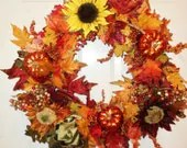 Autumn Fall Wreath Sunflowers Pumpkins Fall Thanksgiving Wreath Wall Decor