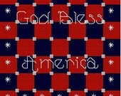 Cross Stitch Pattern, Red White & Blue God Bless America Quilt Style - oneofakindbabydesign