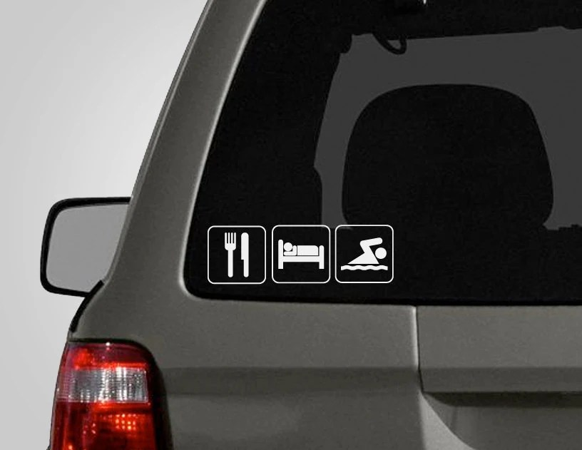 Eat, Sleep, Swim Decal - Swim Decal - Swimmer Sticker - Swimming - Vinyl Car Decal - DecalLab