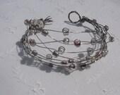 OOAK Bead Cuff Bracelet . Lilac Purple Bead Bracelet