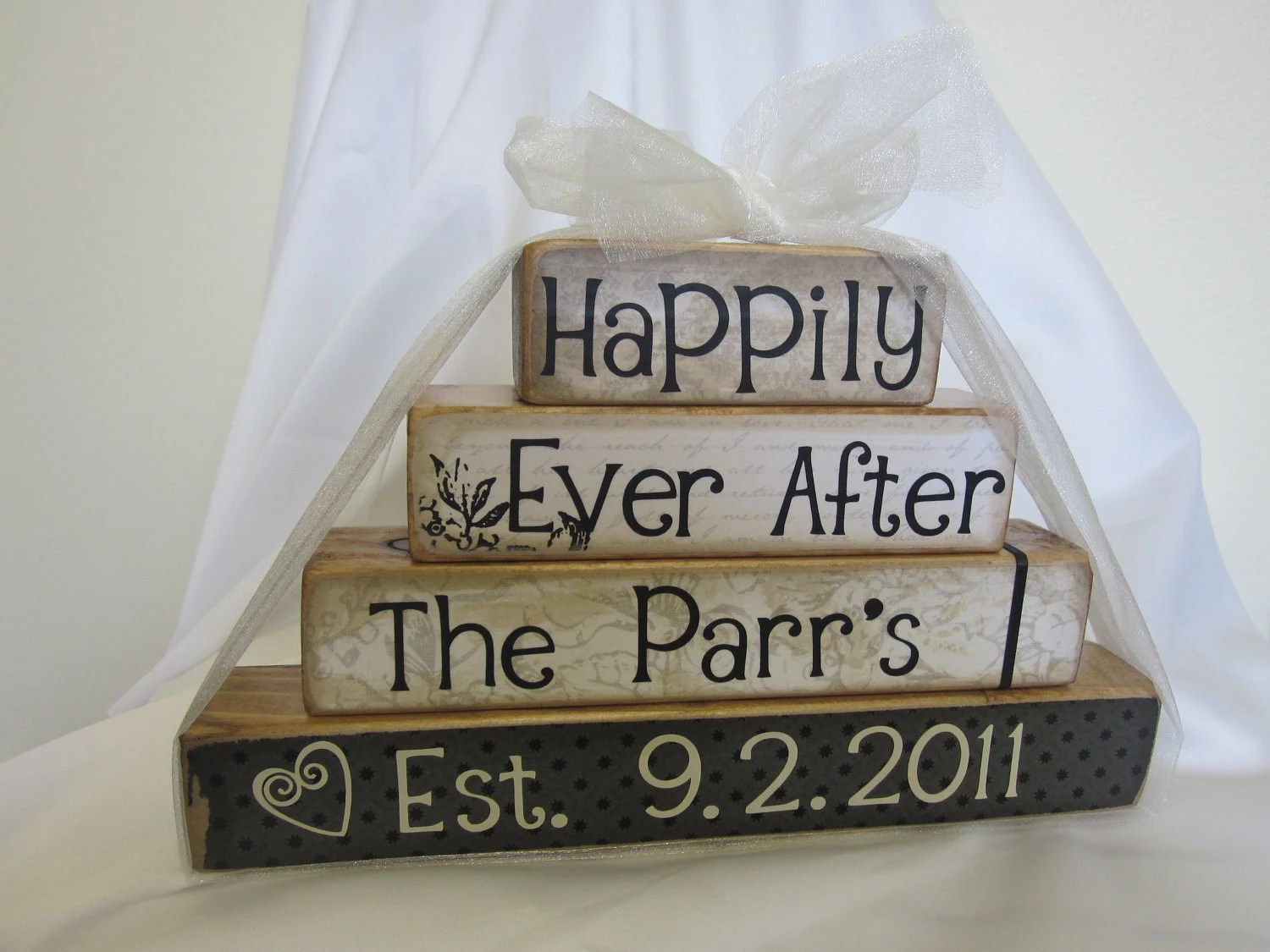 Happily Ever After wooden blocks for wedding or gift