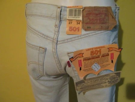 Killer late 1980s Levis 501 button fly acid wash deadstock 27/34 womens last pair