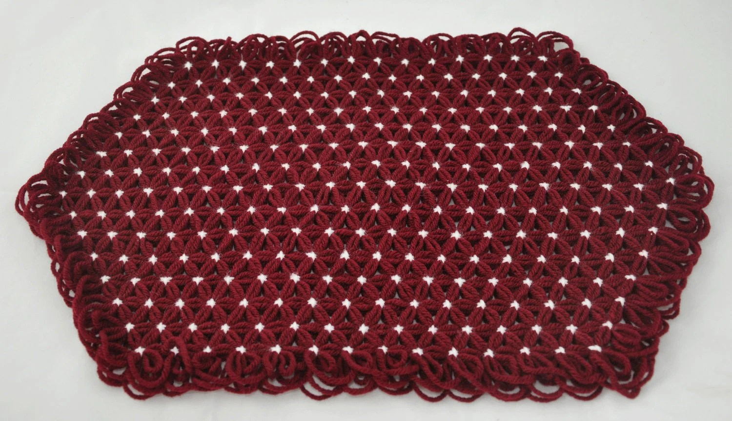Placemats in 3 Layers of Maroon Yarn with White Ties - Set of four  - Autumn Fall Holiday Colors