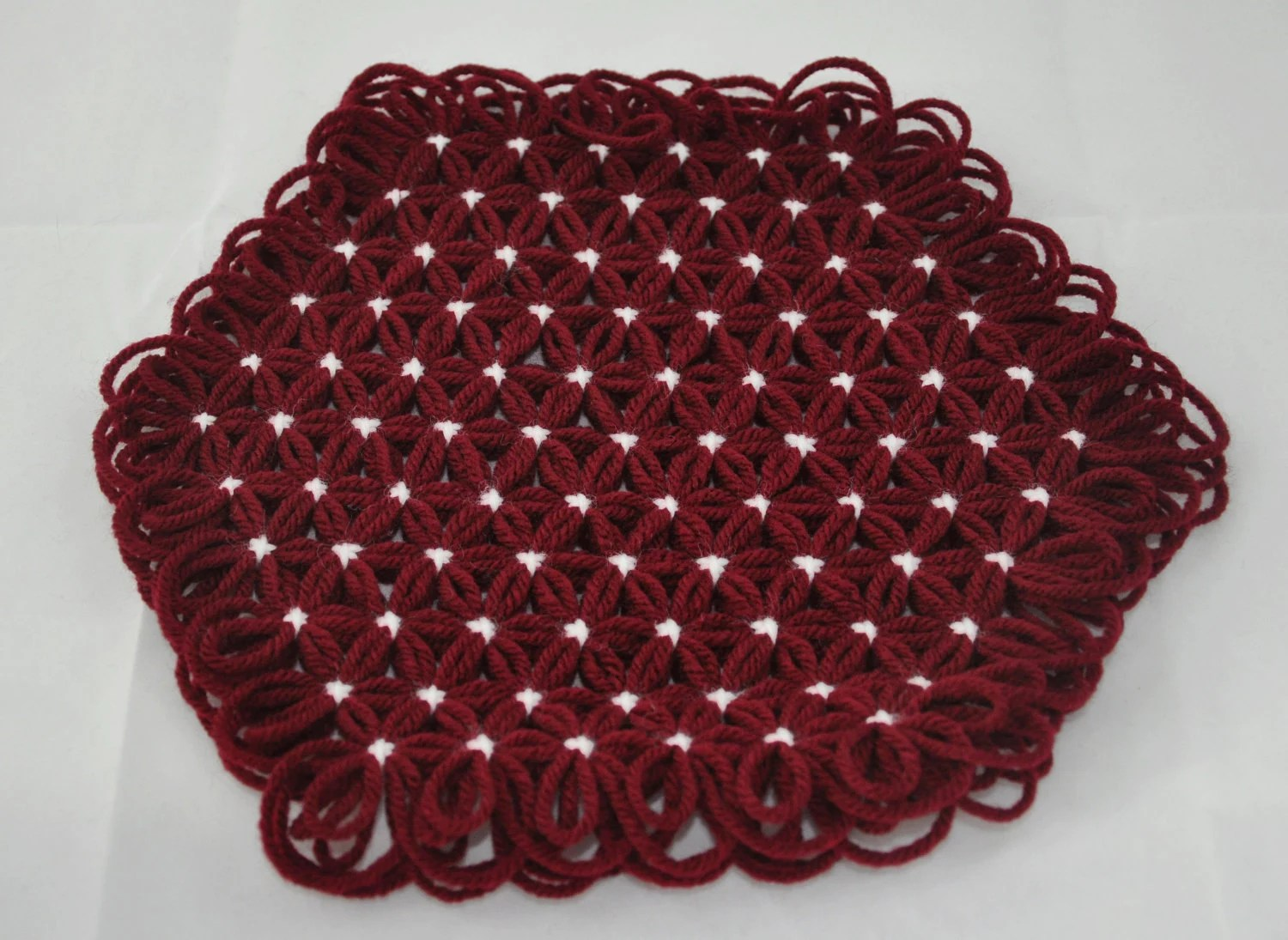 Small Trivet in 3 Layers of Maroon Yarn with White Ties - Autumn Fall Holiday Colors