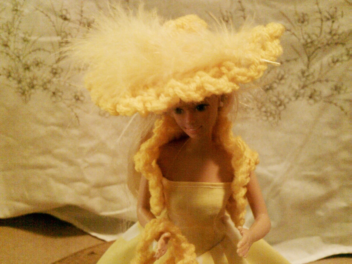 BARBIE DOLL CLOTHES- Dress,  petticoat, bolero, hat , bag,(nannycheryl original ) 879  x  82