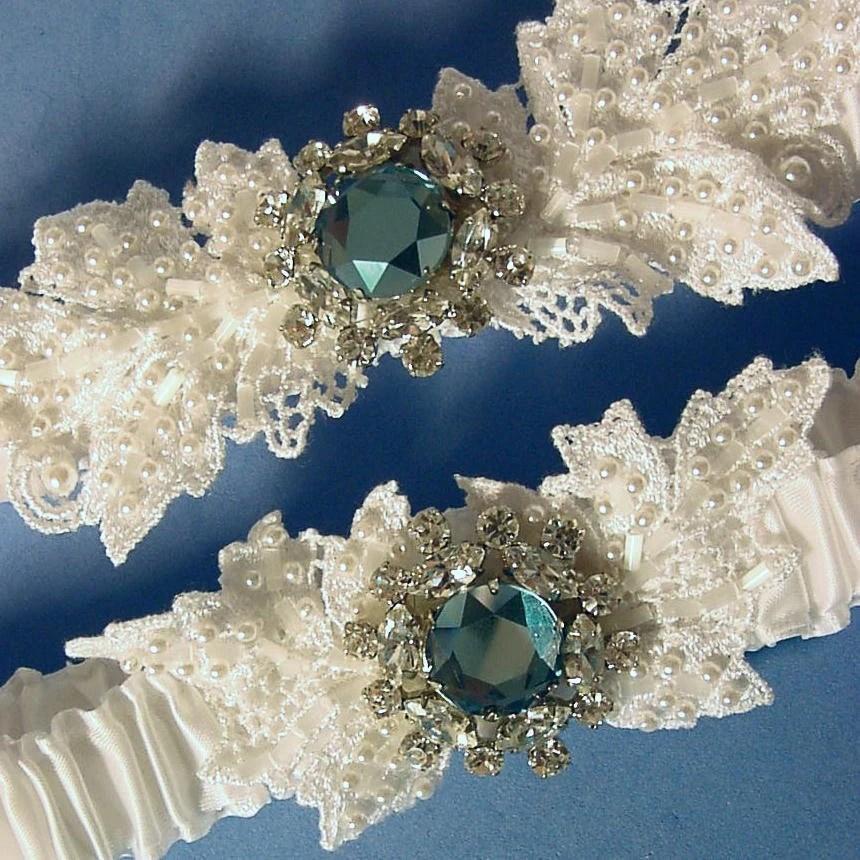 wedding garter set Anastasia Crystal and Pearl White wedding garter Swarovski a Peterene Original