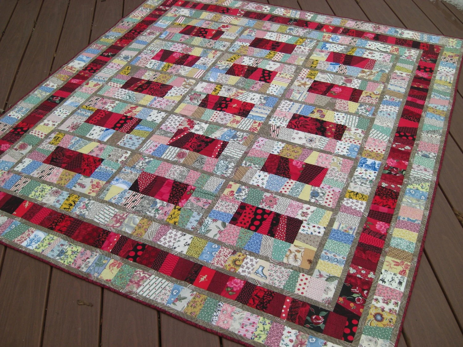 "Retro TwinBed Wall Quilt, Reds & Pastel Novelty Prints, 60"" x 66.5"""