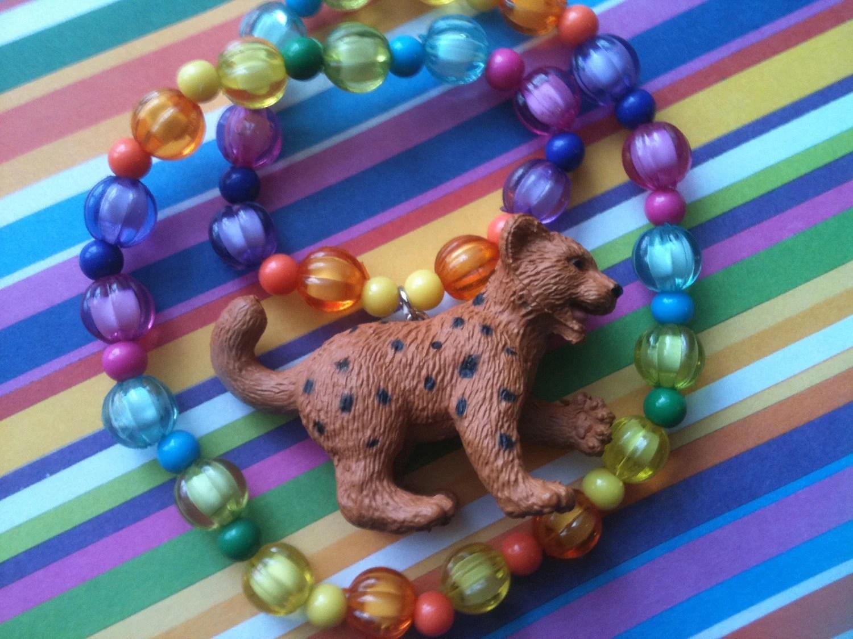 Rainbow Cheetah Baby Animal Zoo Crew Toy Totem Pendant Necklace