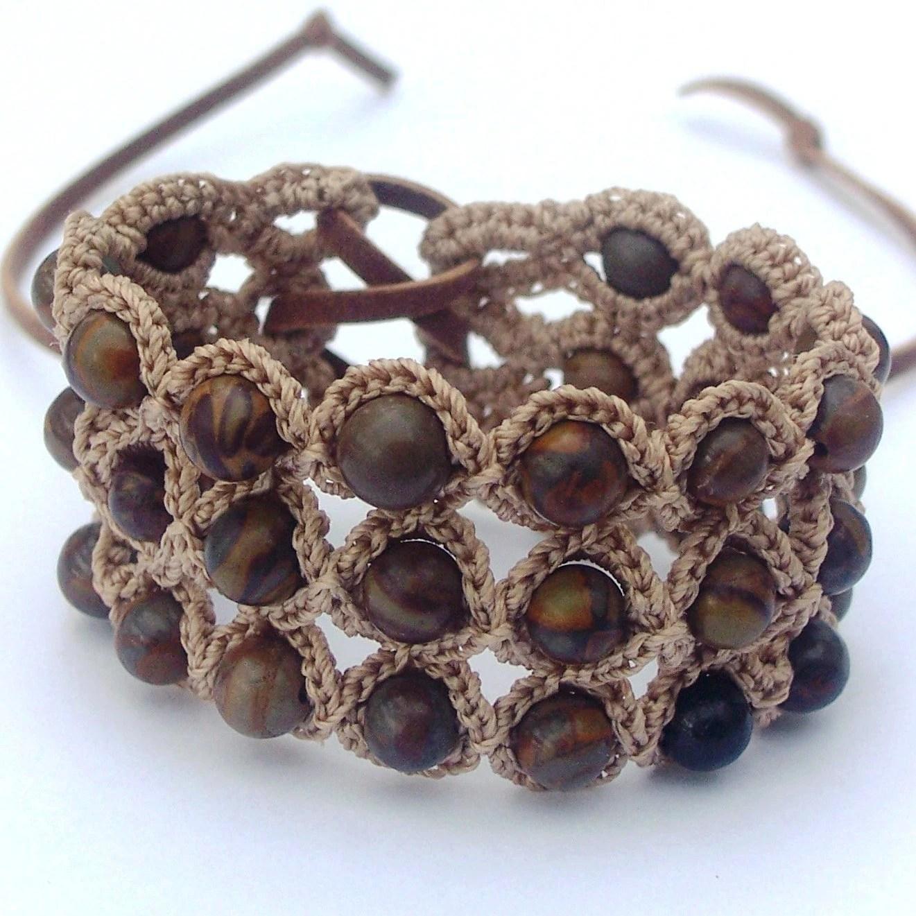 """Crochet Jewelry, Bohemian Bracelet or Cuff, Earthy Colors """"Flower Stone"""""""