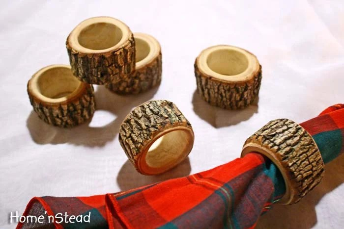 Set of Six Rustic Napkin Rings Holders Wedding Decor Log Home Kitchen Party Favor
