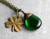 Green Lucky Shamrock Necklace - Four Leaf Clover Charm, Emerald Green Czech Glass, Antique Brass, Irish