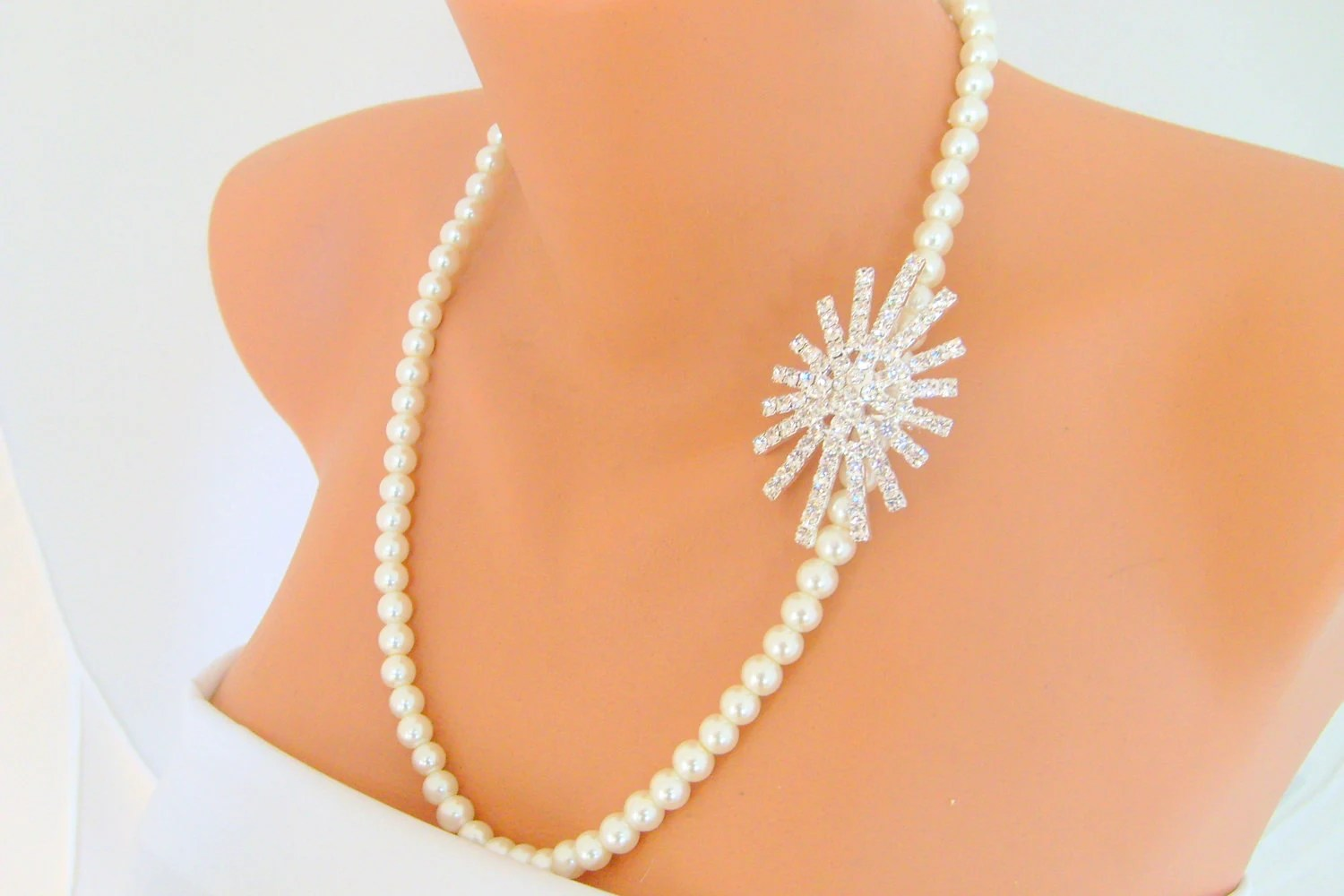 ivory pearl full strand elegant wedding necklace decorated crystal brooch wedding jewelry bridesmaid gift