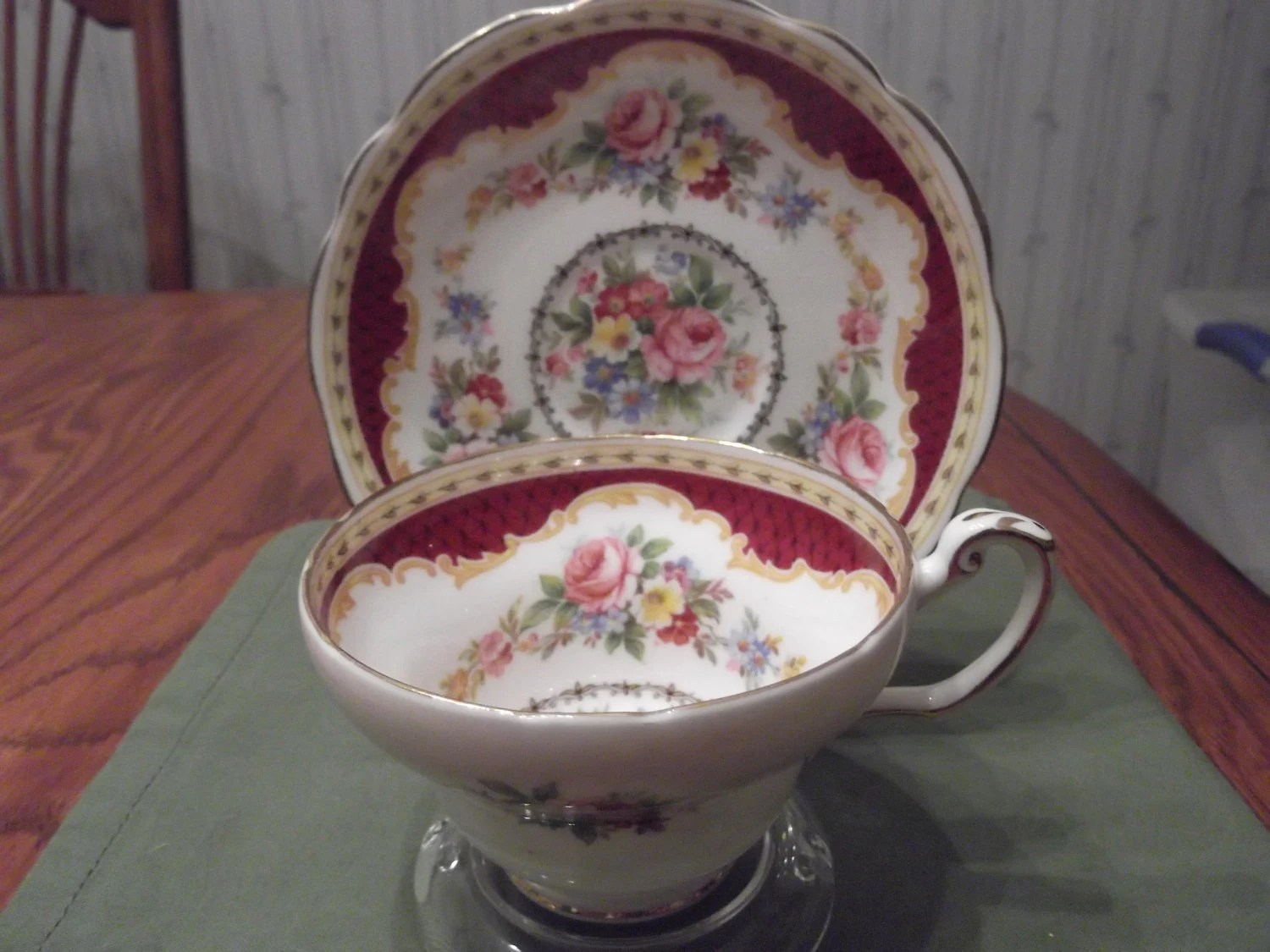 Partially Handpainted Foley cup & saucer titled Windsor circa 1920's or 1930's-  273