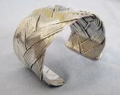 Beautiful Basketweave Silver Plated Cuff Bracelet