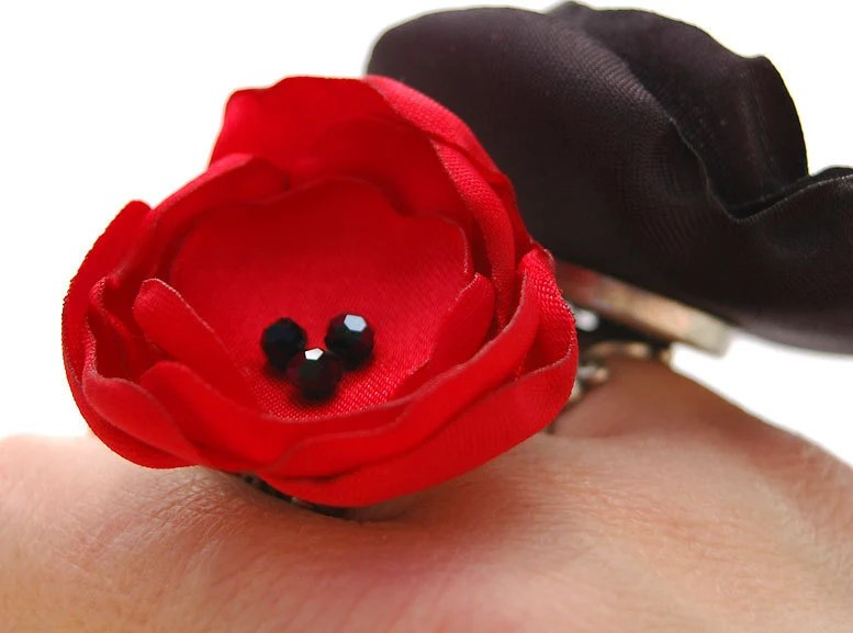Red Flower Ring, Red Silky Fabric Rose on Ornate Brass Adjustable Ring