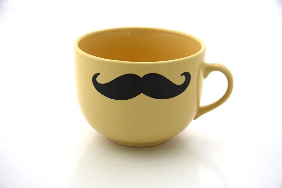 Mustache moustache mug kiln fired double sided yellow gold