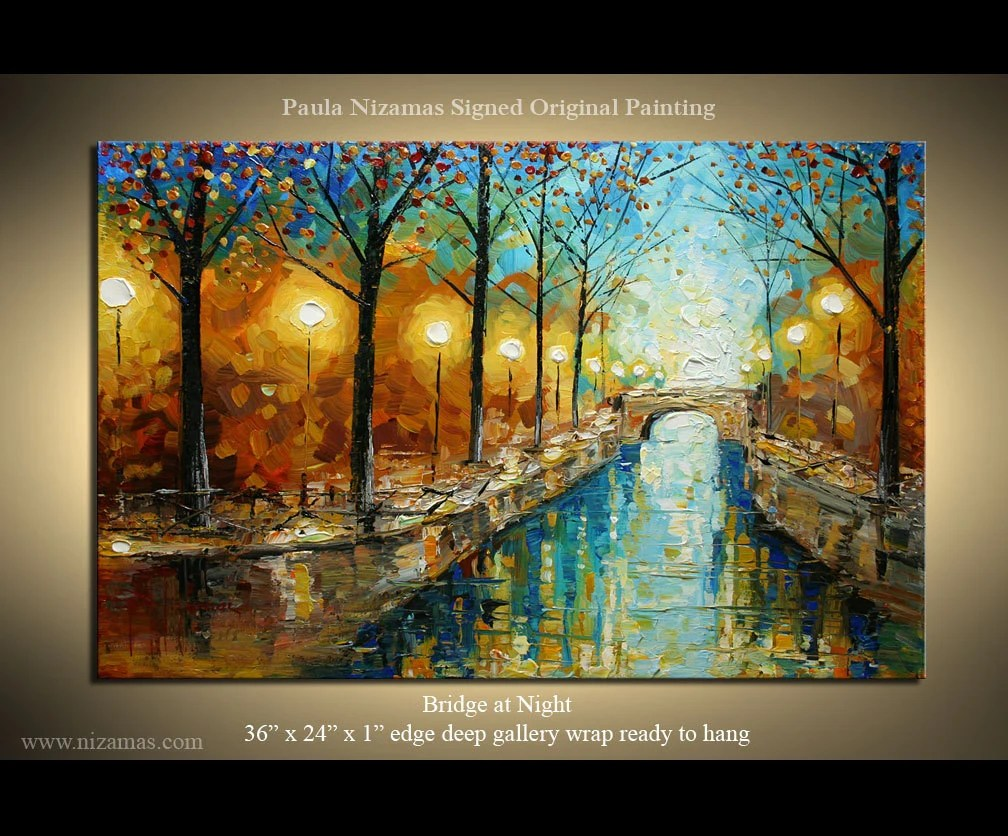 "ORIGINAL Abstract Modern Landscape Palette Knife Painting Bridge at Night on Canvas from P. Nizamas 36"" x 24"""
