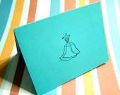 Wedding Dress Card - Tiffany Blue, Will you be my Bridesmaid, Blank inside, Thank You Card, Invitation