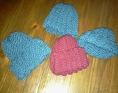 Preemie-teen sideways knit beanie hat