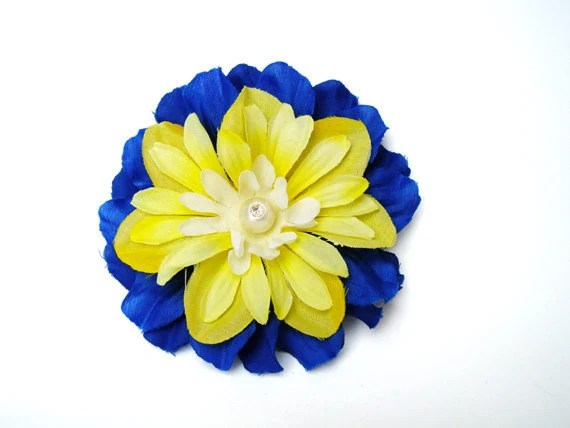 Hair Flower Fascinator - Royal Blue & Yellow 3.75""