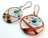Autumn's Last Turquoise Butterfly Circle Copper Earrings - Wire Wrapped and Resin Copper Earrings