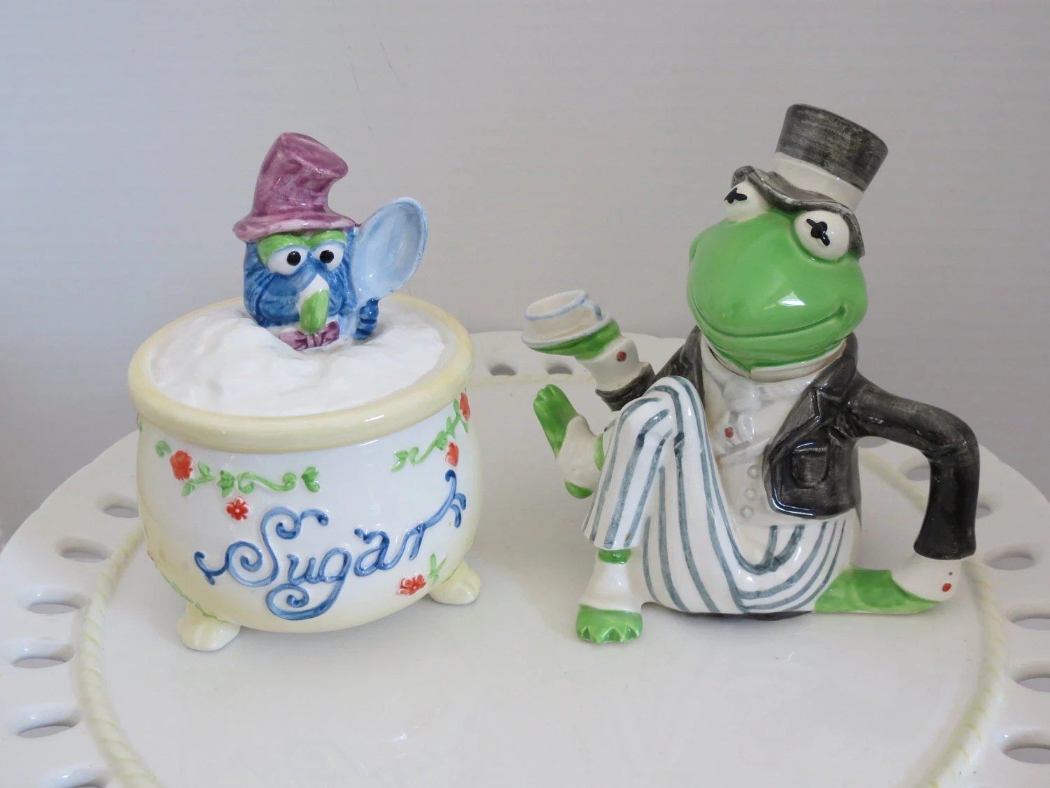 Muppets, Kermit the Frog and Gonzo Creamer and Sugar Bowl by Sigma
