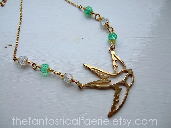 Vintage Swallow Necklace UK SELLER