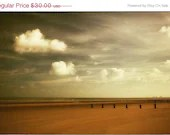 SPRING SALE On Dymchurch Beach - FREE shipping - golden autumnal reds and coppers with bright white clouds